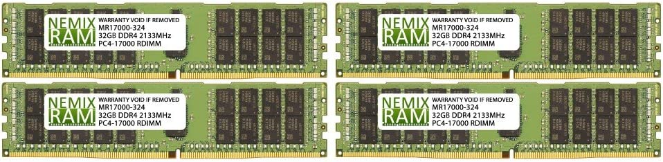 128GB (4x32GB) DDR4-2133MHz PC4-17000 ECC RDIMM 2Rx4 1.2V Registered Memory for Server/Workstation