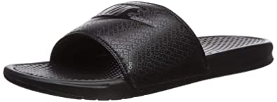 best authentic 03697 18bc9 Nike Mens Benassi JDI Slip On Open Toe Flip, Black White Noir Blanc