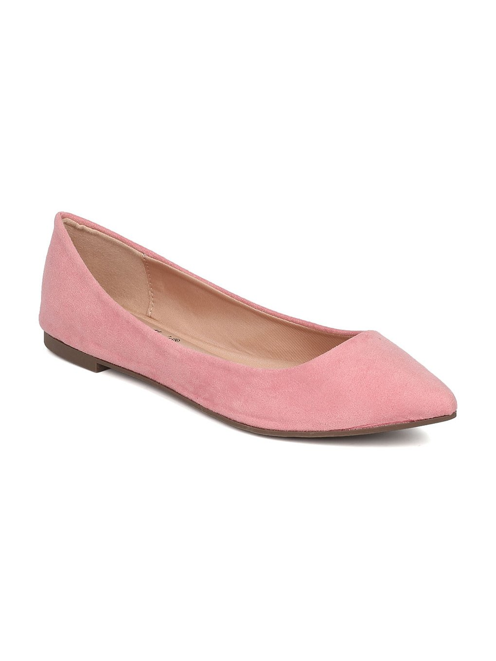 Breckelle's Women Faux Suede Pointy Toe Ballet Flat GH13 B06XYJH8MD 8.5 M US|Pink