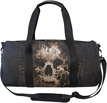 Gym Sports Small Duffel Bag for Men and Women with Shoes Compartment Skull