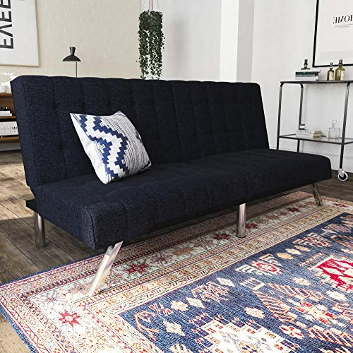 DHP Emily Futon Couch Bed, Modern Sofa Design Includes Sturdy Chrome Legs and Rich Linen Upholstery, Navy (Modern Futon Bedroom Frame)