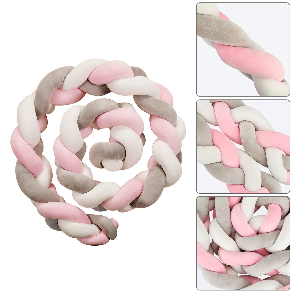 """78.7/"""" Soft Knotted Sides Protector Machine Washable Newborn Gift Nursery Decor for Girls Boys TEKI Bedside Protector"""
