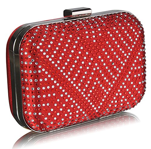 New Sparkly Look Party Red Hardcase Club Diamante For Ladies Clutch For 1 Purse Box Bag Women Design Handbag Wedding Designer Bdvw7dq