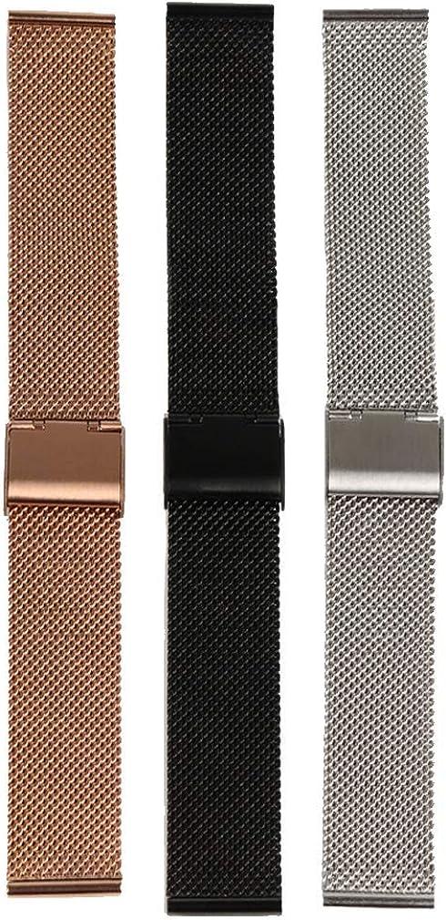 12mm 14mm 16mm 18mm 20mm 22mm Uhrenarmband Edelstahl Band für Herren Damen Verstellbar Schnellverschluss-Armband Schwarz