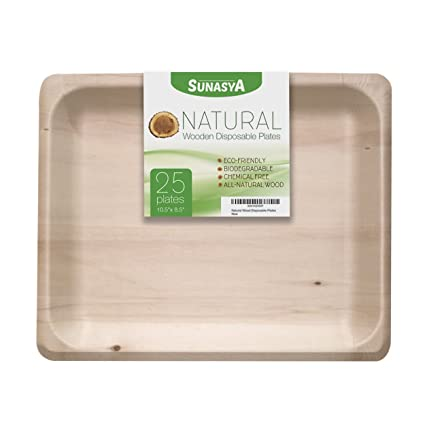 Natural Wooden Disposable Plates Size 10.5u0026quot; 8.5u0026quot; Eco Friendly and Biodegradable Dinnerware; All  sc 1 st  Amazon.com & Amazon.com: Natural Wooden Disposable Plates Size 10.5