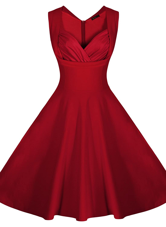 Miusol Women's Cut Out V-Neck Vintage Casual Retro Dress at Amazon ...