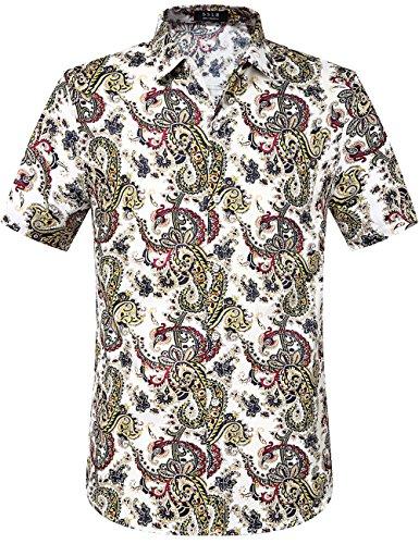 SSLR Men's Tropical Aloha Hawaiian Casual Short Sleeve Linen Shirt (Medium, White Yellow) -
