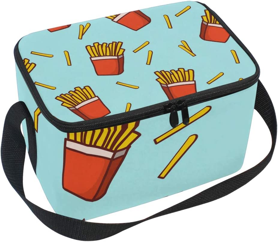 Insulated Lunch Bag Fast Food French Fries Potato Chips Lunchbox Thermal Handbag Food Container Cooler Reusable Outdoors Travel Work School Strap Lunch Tote