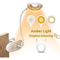 HOTERB - Luz de lectura LED blanca de 22 LED, recargable por USB con 3 modos,interruptor táctil, clip en la cama…