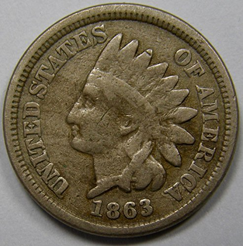 1863 U.S. Indian Head Copper-Nickel Cent / Penny Coin Penny Circulated