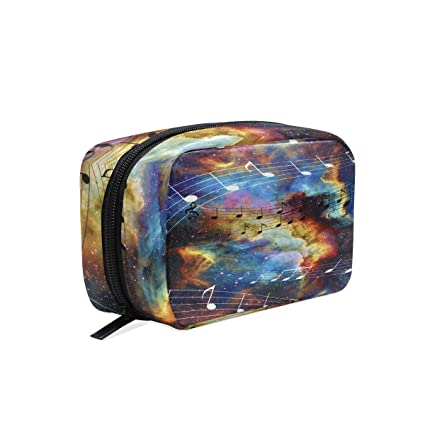 9a4df0d0f541 Amazon.com: Galaxy Space Music Note Makeup Bag Cosmetic Bag Toiletry ...