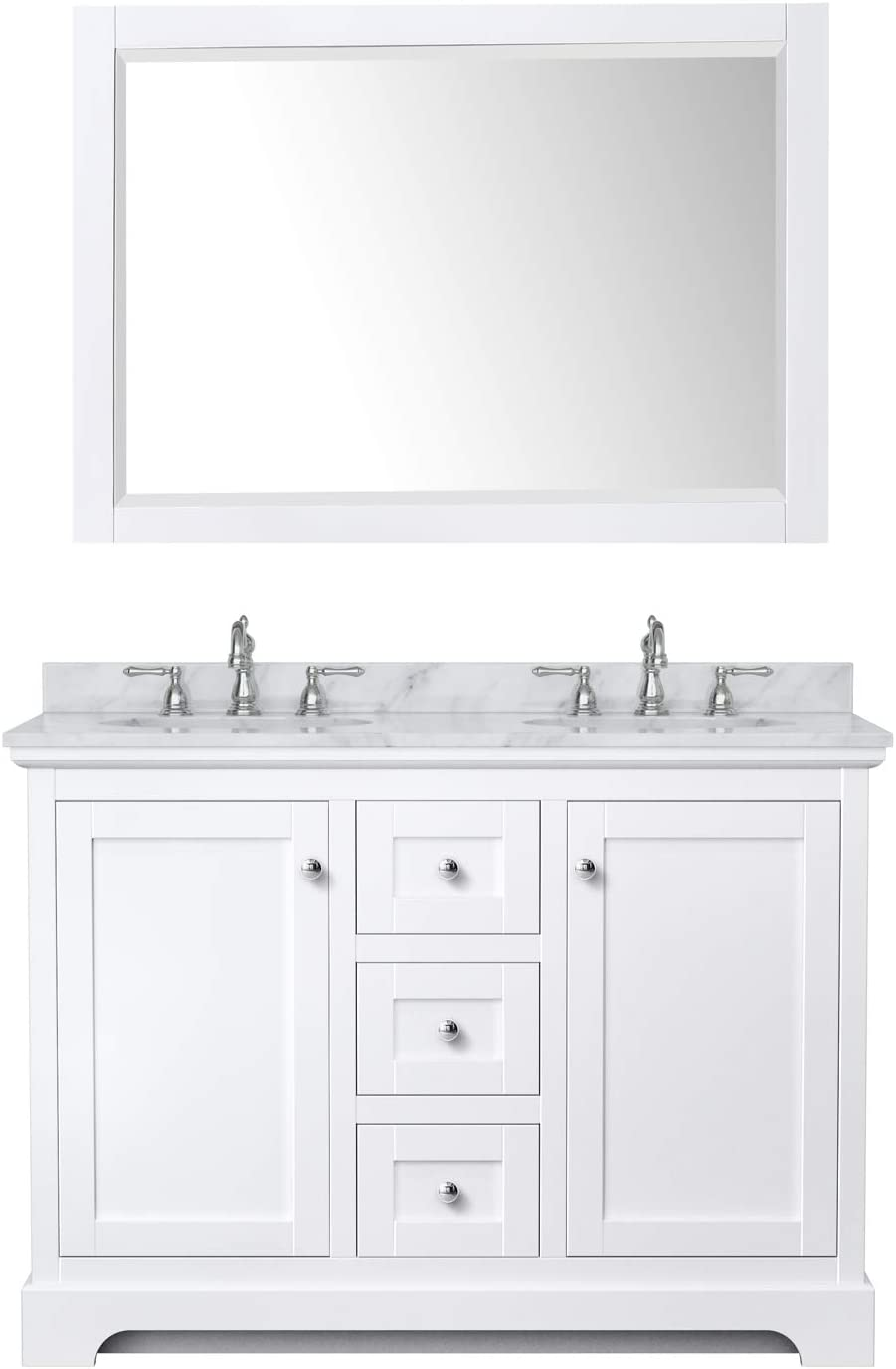 Undermount Oval Sinks Avery 48 Inch Double Bathroom Vanity In White White Carrara Marble Countertop 46 Inch Mirror Bathroom Sink Vanities Accessories Tools Home Improvement Fcteutonia05 De