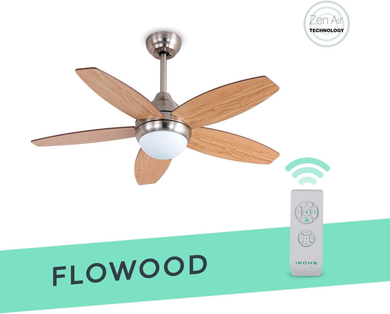 IKOHS FLOWOOD - Ventilador de Techo con Luz Led, Silencioso ...