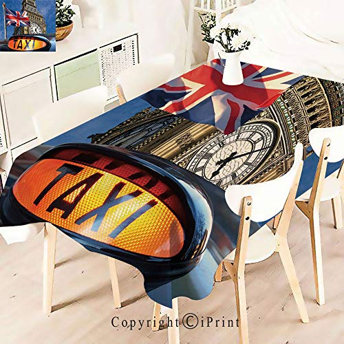Modern Decor Tablecloth, Jack Flagon Pole and Big Ben,Graphic Fusion Artwork, Dining Room Kitchen Rectangular Table Cover,W55 xL71,Multicolor