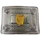AAR Scottish Kilt Belt Buckle Celtic Design with Gold Harp Badge