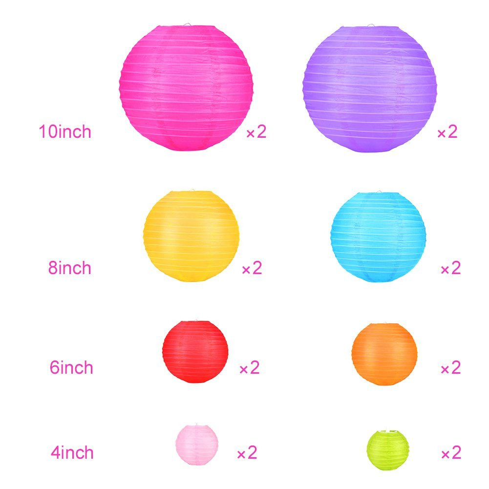 16 Pcs Paper Lanterns Decorative with Assorted Colors and Sizes - Chinese/Japanese Paper Hanging Decorations Ball Lanterns Lamps for Home Decor, Parties, and Weddings by bynhieo (Image #1)