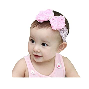 f7e98015344 Image Unavailable. Image not available for. Color  Jarsh 1PC Baby Girls Kids  Pearl Headband Bow Lace Headband Flower Headwear (Pink)