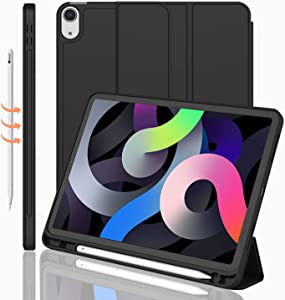 iMieet iPad Air 4th Generation Case 2020, iPad 10.9 Inch Case 2020 with Pencil Holder [Support Touch ID, NOT Support Auto Wake/Sleep], Trifold Stand Smart Case with Soft TPU Back (Black)