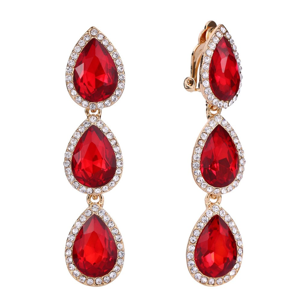EleQueen Women's Gold-tone Austrian Crystal Teardrop Pear Shape 2.4 Inch Long Clip-on Dangle Earrings Ruby Color