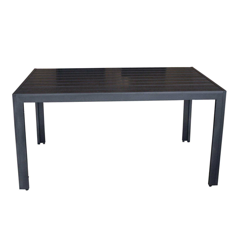 Wohaga® Gartentisch Terrassentisch mit Polywood / Non Wood - Tischplatte 150x90cm Aluminium - Schwarz / Terrassenmöbel Gartenmöbel