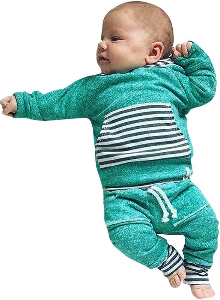 YanHoo Conjuntos de Ropa para bebés niño Traje de otoño e Invierno Suéter resbaladizo para niños Tops con Capucha Sudadera Pantalones Trajes Conjunto de ropaTraje de Dos Piezas para niños: Amazon.es: Ropa