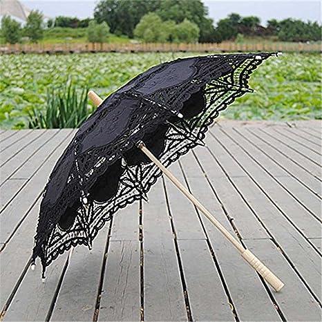 Alextry Sun Pizzo Ombrello Parasole Ricamo Fashion Manico in Legno per Sposa Donne Beige