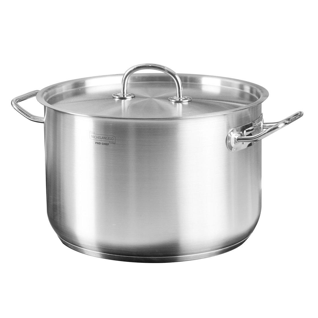 MICHELANGELO Premium Stainless Steel Stock Pot with Lid, Classic 10 Qt Stainless Steel Pot With Lid, Induction Cookware Large Pot, 10 Qt Stainless Steel Pasta Pot, Large Sauce Pan, 10 Quart Soup Pot