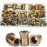 Zinc Plated Rivet Nut Mixed Metric Rivnut Threaded Flat Head Insert Rivetnut Standard Blind Nutsert M3 M4 M5 M6 M8 M10 M12 Assortment Kit Set Carbon Steel,150Pcs