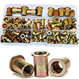 Zinc Plated Rivet Nut Mixed Metric Rivnut Threaded Flat Head Insert Rivetnut Standard Blind Nutsert M3 M4 M5 M6 M8 M10 M12 Assortment Kit Set Carbon Steel,150Pcs