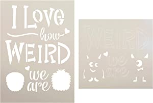 Love How Weird We are 2-Part Stencil by StudioR12 | Cursive Script - Monsters | Reusable Mylar Template | Paint Wood Sign | Craft Fun Valentine Gift | DIY Home Decor | Select Size (6.5 x 9 inches)