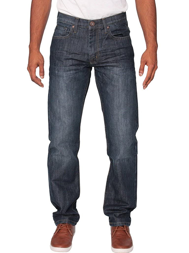 ENZO Mens Classic Straight Leg Regular Fit Indigo Wash /& Mid Stone Wash Denim Jeans