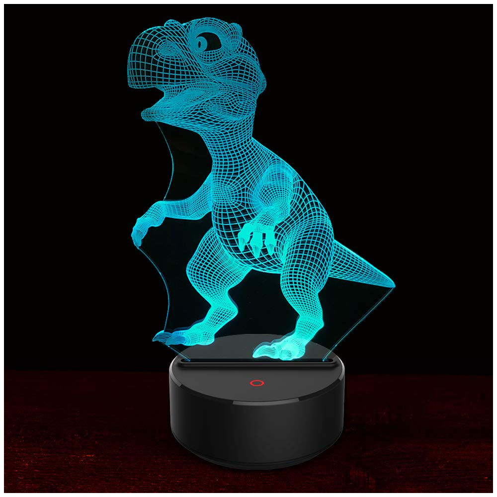 3D Night Light Dinosaur 3D Lamp Optical Illusion Nightlights Touch Switch Bedside Lamp 7 Colors Changing LED Lamps Perfect Birthday Gifts for Girls Kids Children Boys Adults Women (N01 Dinosaur)