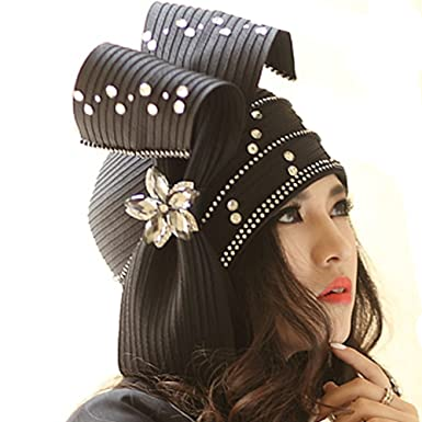 90f03dd6c47 June s Young Fashion Church Hat for Women Satin Hat Couture Hats Elegant ( Black)