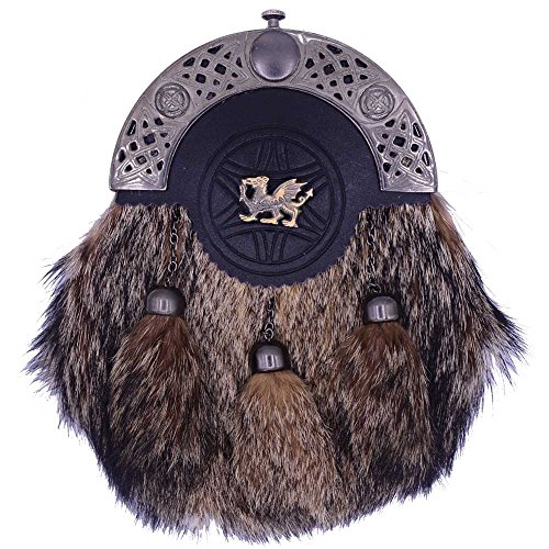 (Traditional Scottish Kilt Sporran Formal Fox Fur in Various Badges With Free Kilt Pin Antique (Welsh Dragon Badge))