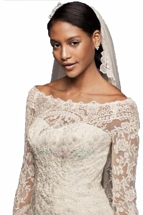 Fancy-Bridal Women\'s Sheer Long Sleeves White Lace Wedding Dresses ...
