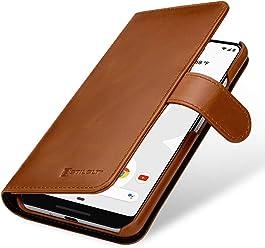 StilGut Housse pour Google Pixel 3 XL Porte-Cartes en Cuir véritable, Cognac