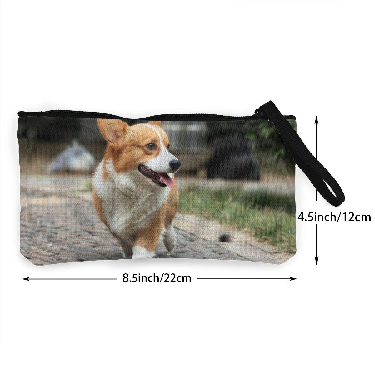 YUANSHAN Walking Dog Unisex Canvas Coin Purse Change Cash Bag Zipper Small Purse Wallets with Handle