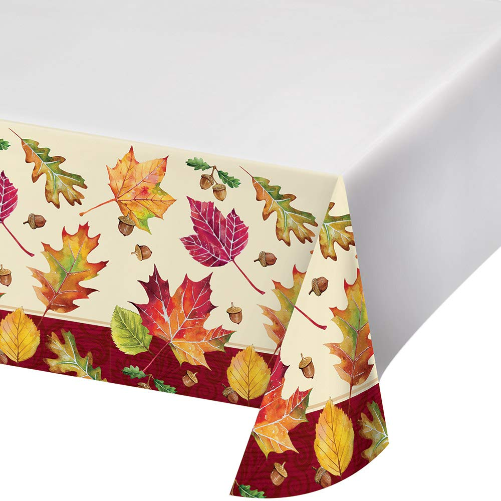 Creative Converting 332005case Fall Leaves Plastic Tablecloths, One Size, Multicolor by Creative Converting