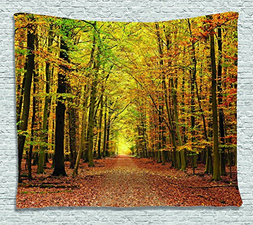 Ambesonne Fall Decorations Tapestry, Pathway in Fall Forest with Faded Leaves Dramatic Romantic Season Scene, Wall Hanging for Bedroom Living Room Dorm, 60 W X 40 L Inches, Yellow ()