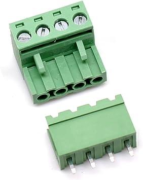40pcs 5.08mm Close Straight 3pin Screw Terminal Block Connector Pluggable Green