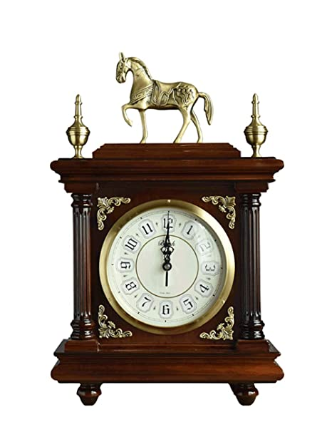 KCoob Reloj Retro Madera roja Vintage Estilo Antiguo Americano Reloj en Punto Grande de 12 en