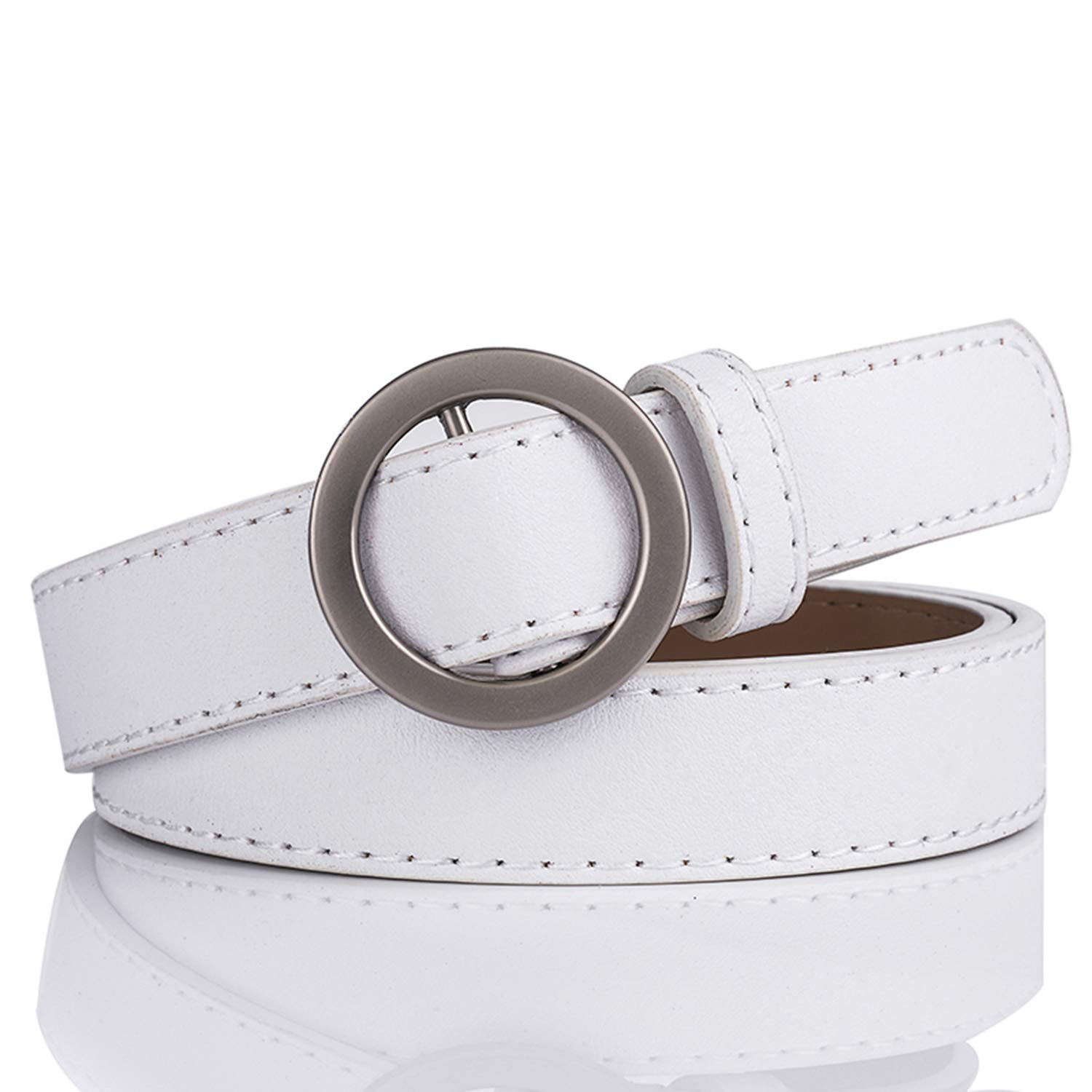 Wine Red DFLJ New Vintage Pure Leather Round Buckle Leather Women's Thin Belt Wine Red