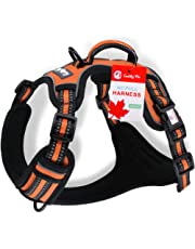 Dog Harness, No Pull Front Range Reflective Adjustable Pet Vest, with Handle, Easy Control for Small Medium Large Dogs (Large, Orange)