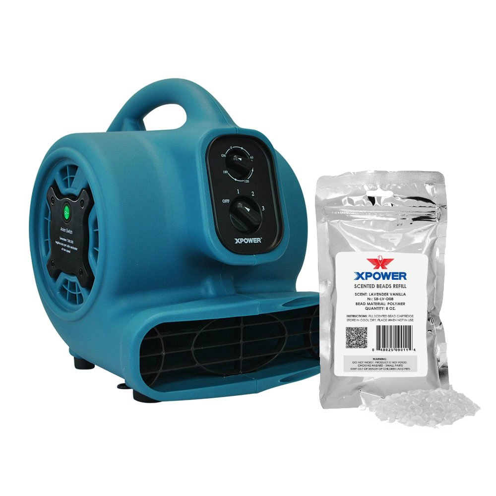 XPOWER P-250NT Freshen Aire Scented Air Mover with Ionizer, Timer & Freshener Beads Refill (Lavender Vanilla, 8 oz)