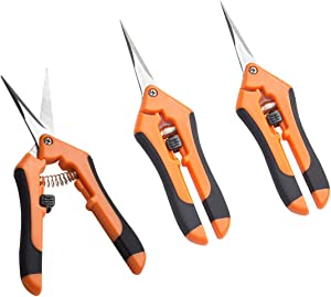 JES&MEDIS 3-Pack Gardening Shear Pruning Shears with Stainless Straight and Curved Blades, Handheld Pruners Set Hand Pruning Snips Professional Bypass Pruning, Orange