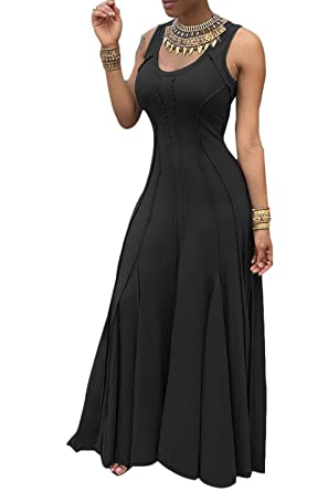 Suvotimo Women Cocktail Dress Sleeveless Fit and Flare Prom Dresses Plus Size Black S