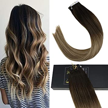 Tape in Remy Human Hair Extensions,Balayage 3 Darker Brown to 8  Highlighted with Ash Blonde 18