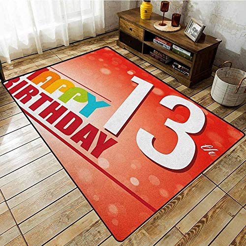 (Living Room Rug,13th Birthday,Retro Style Teenage Party Invitation Graphic Design with Bokeh Effect Rays,Anti-Slip Doormat Footpad Machine Washable,5'10