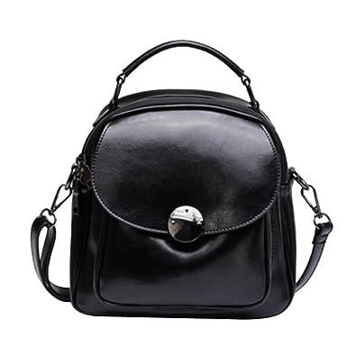 Damen Leder Schultertasche Students Bag,Black-OneSize ADEFG