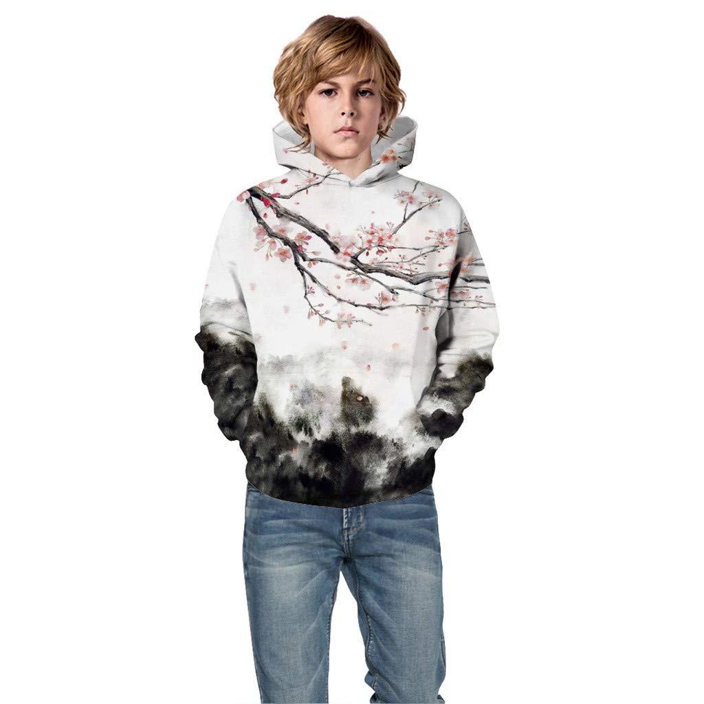 Teen Kids Boys Girls Christmas 3D Print Cartoon Sweatshirt Pocket Hoodie Baby Boys Girls Clothing Sale UK Sale